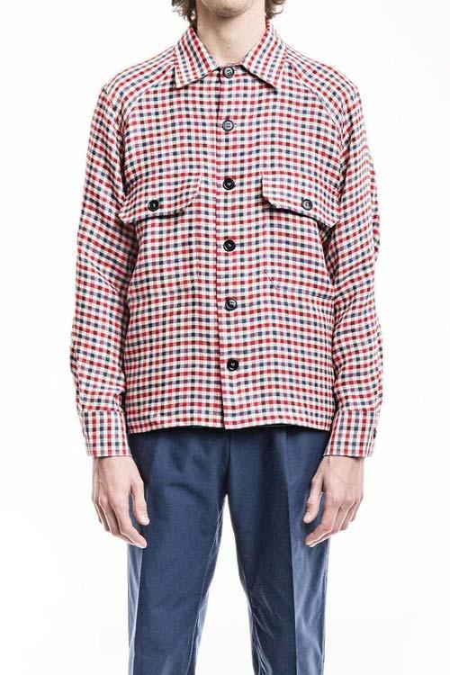 BALIO - Original Jacket Shirt - Linen Check Red/Blue/White