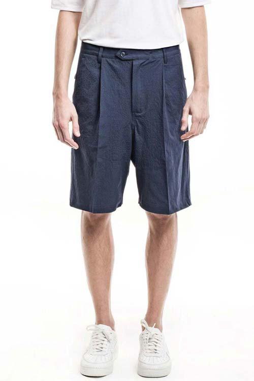 MISTERO - Wide Shorts - Seersucker Blue