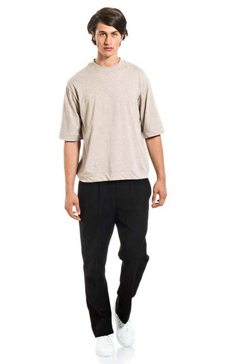 BUCEFALO - Wide One T-Shirt - Melange Beige