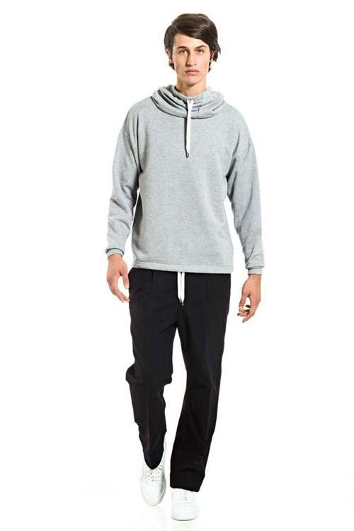 NATIVE DANCER - Wide Hood Sweatshirt - Fleece Light Gray