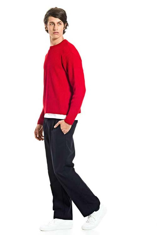 TOTILAS - Knit Ribbed Pullover - Red